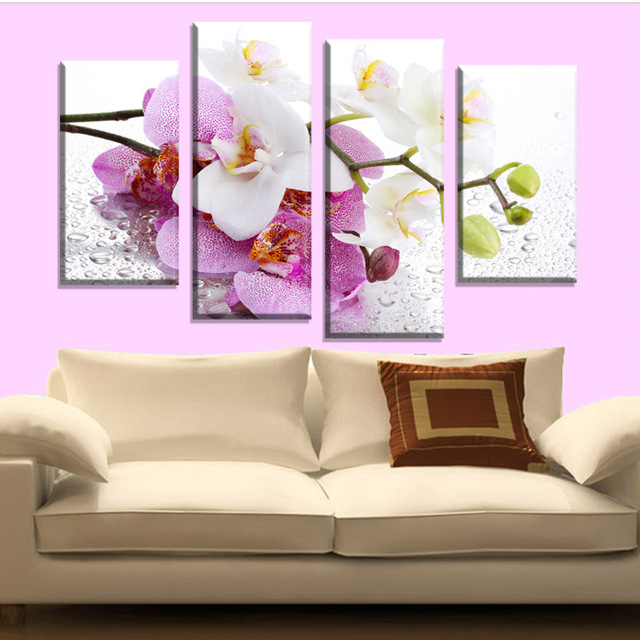 4 Pcs Hot Sell Butterfly Pink Flowers Wall Art Picture Modern Home ...