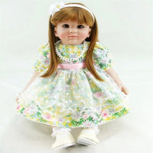 22 inch 55 cm  reborn Silicone  dolls, lifelike doll reborn babies toys Beautiful flower skirt girl