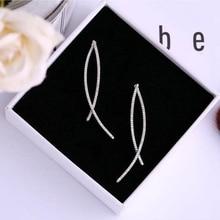 Ruifan Europe Simple Overlapping Line Fish Shape Long Earrings Women 2019 Fashion Cubic Zircon Earring Summer Jewelry YEA068