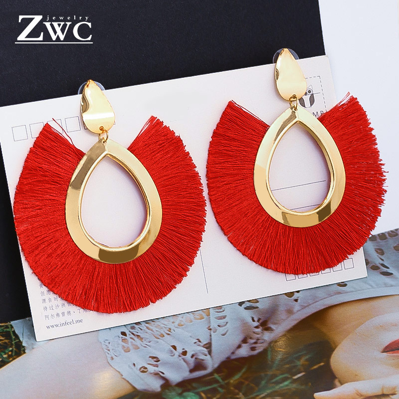 ZWC Fashion Bohemian Tassel Vintage Statement Drop Earrings for Women Black Red Yellow Big Dangle Fringe