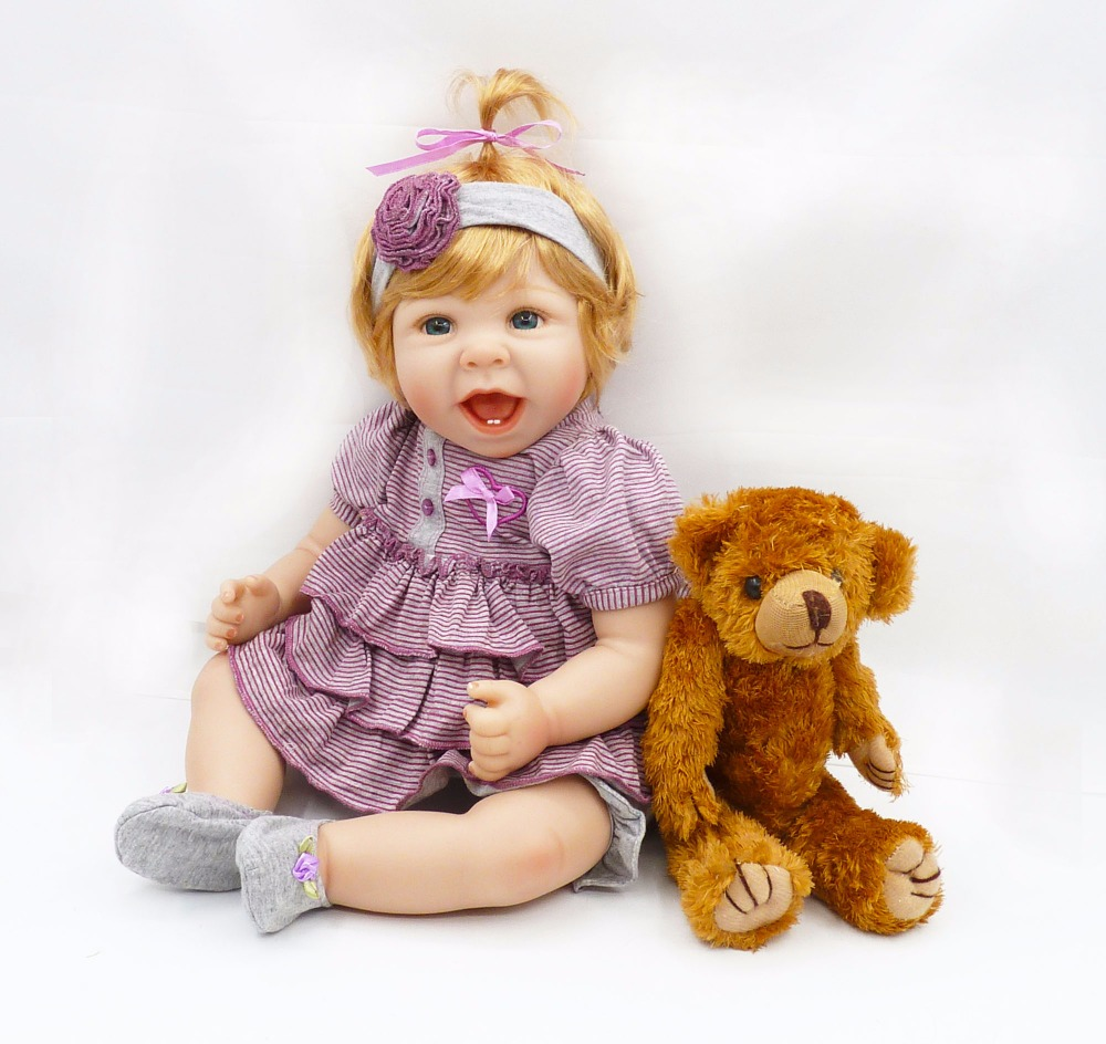 55cm Silicone Reborn Baby Doll Toy Lifelike Princess Toddler Smile Girl Babies Dolls With Bear Fashion Birthday Gift Play House vinyl silicone toddler doll toy play house dolls birthday gift for kids child 55cm cute high end princess reborn girl baby dolls