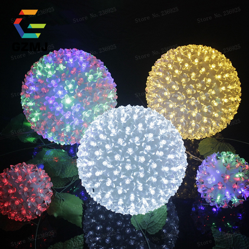 Dia20cm sakura flower globe ball waterproof led string - Large bulb exterior christmas lights ...
