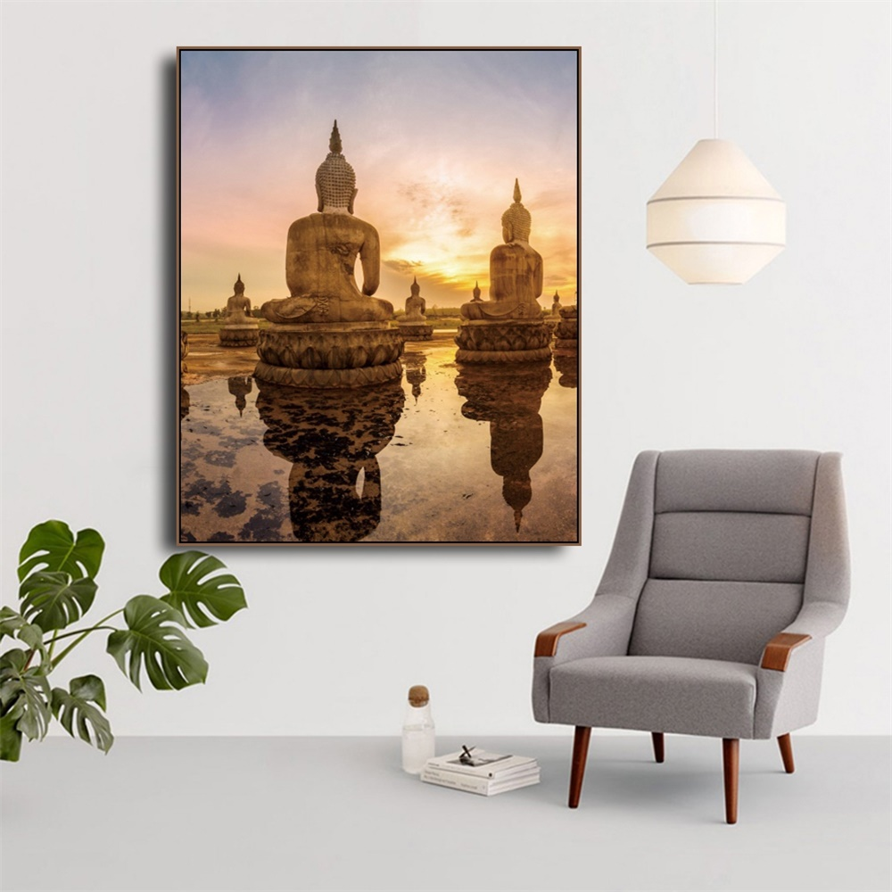Laeacco Canvas Calligraphy Painting Sunshine Wall Artwork Buddha Statue Posters and Prints Home Living Room Decoration in Painting Calligraphy from Home Garden