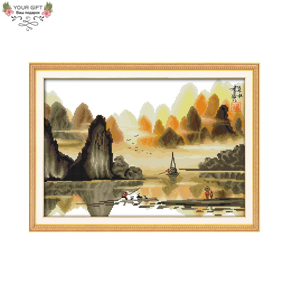 Your Gift F415 Free Shipping Counted And Stamped 14CT 11CT Home Decor Chinese Poetic Li River Embroidery Cross Stitch Kits