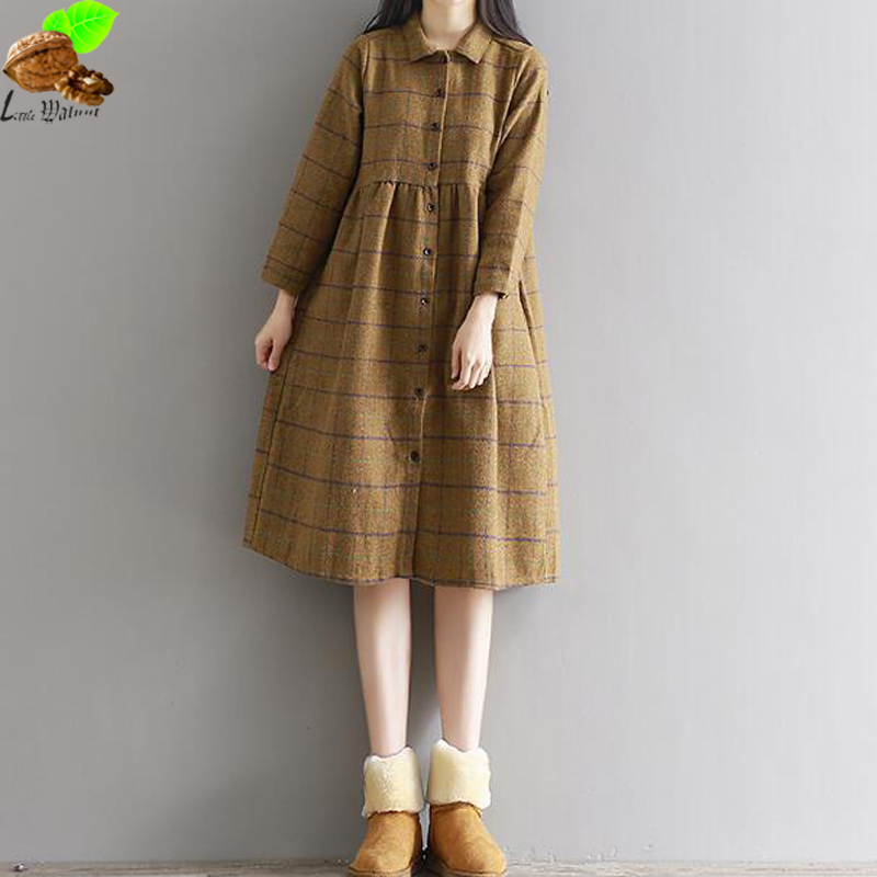 Mori Dresses Clothing Women National Winter and Autumn Cotton Vintage Plaid Dress Plus Size Casual Harajuku