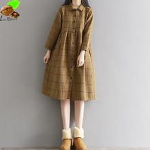 Мори Платья Одежда Женщины Национальный Зима и Осень Хлопок Vintage Plaid Dress Плюс Размер Повседневная Harajuku Dress for Girls
