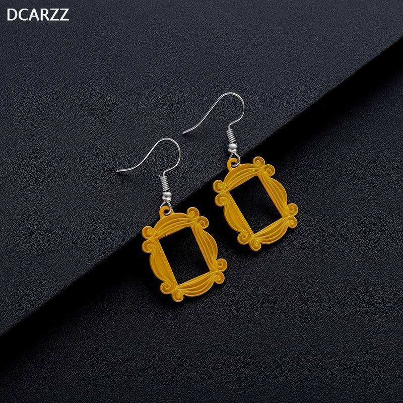 Friends TV Series Big Earrings Peephole Frame Yellow Korean Earring Women Valentine'Day Gift for Girl Friend Jewelry Wholesale-in Drop Earrings from Jewelry & Accessories    3