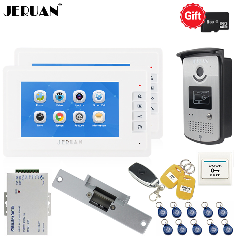JERUAN New Video Door phone Voice/Video Recording Intercom system kit With 7 inch LCD Display Screen + RFID Access IR Camera 1V2 7 video recording lcd screen video door phone intercom 3 screens rfid code ip65 strong waterproof home security ccd camera