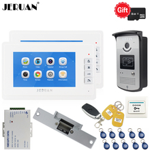 JERUAN New Video Door phone Voice/Video Recording Intercom system kit With 7 inch LCD Display Screen + RFID Access IR Camera 1V2