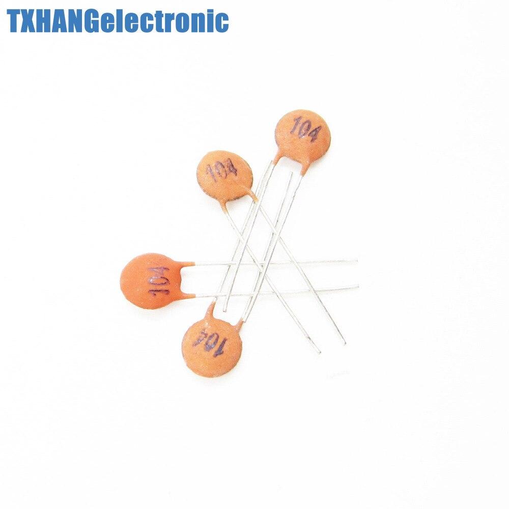 100Pcs 100nF 0.1uF 104pF 50V Ceramic Disc Capacitors DIP top