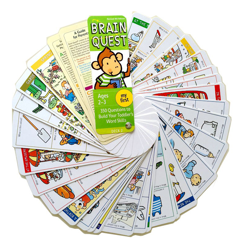 Cerveau Quest Version anglaise de la carte de développement intellectuel autocollant livres Questions et réponses carte Smart Start enfant enfants - 3
