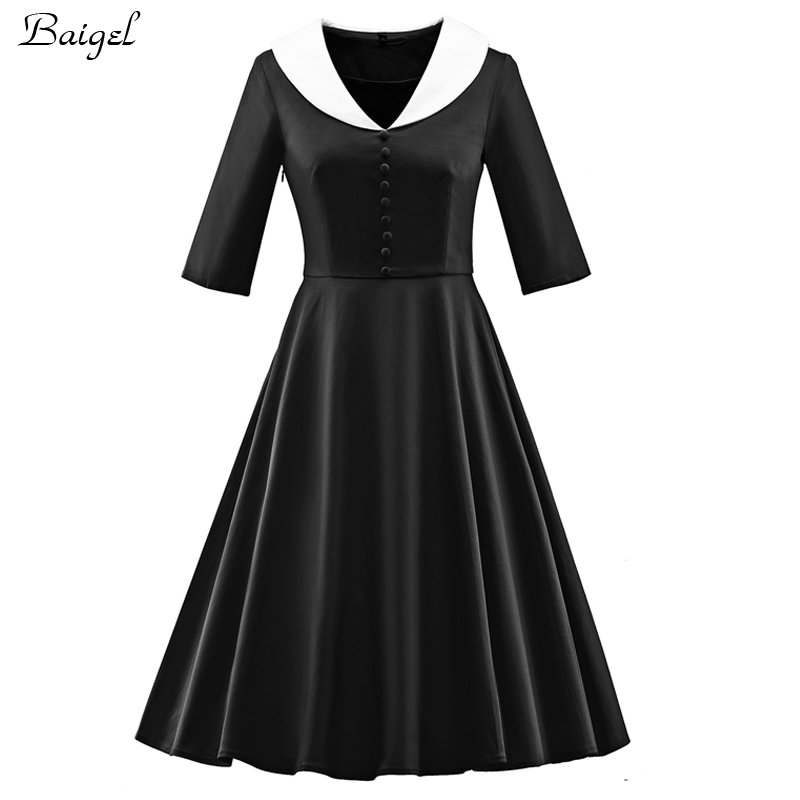 Womens Half Sleeve Black Dress With White Collar 1950s