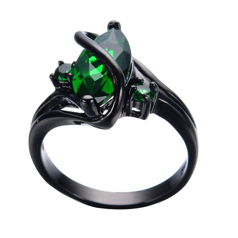 Vintage Marquise Green Zircon Ring Men Women Fashion Jewelry Black