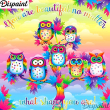 Dispaint Full Square/Round Drill 5D DIY Diamond Painting Cartoon owl scenery 3D Embroidery Cross Stitch Home Decor A12396
