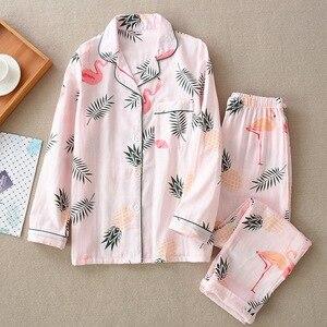Image 3 - Pijamas de algodón de gasa de 100% de dibujos animados de flamencos, Conjunto de pijama de verano para mujer, manga larga fina, informal, ropa de dormir cómoda, pijamas de primavera para mujer