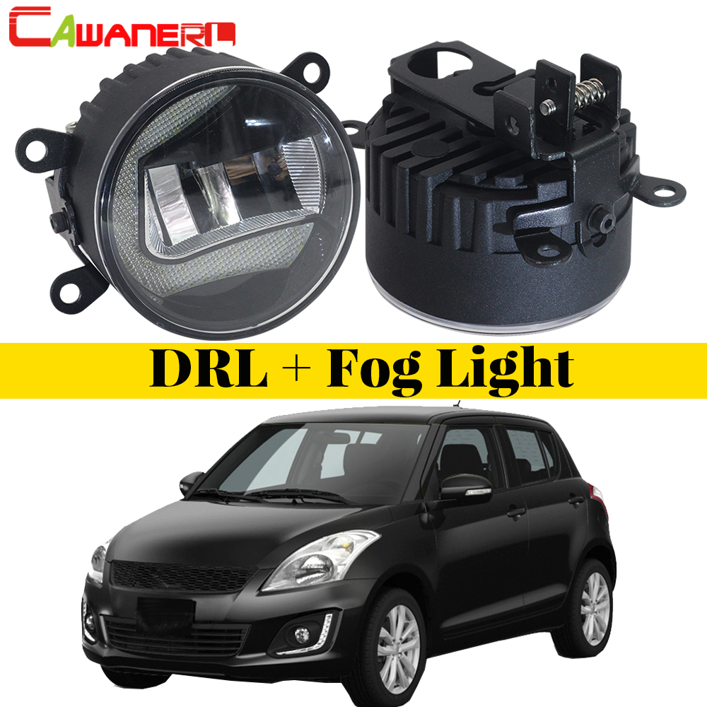 Cawanerl 2 Pieces Car Styling LED Bulb Fog Light DRL Daytime Running Lamp White For Suzuki Swift MZ EZ Hatchback 2005-2015 car styling for suzuki swift taillights 2014 2015 for swift rear lights dedicated car light led taillight assembly