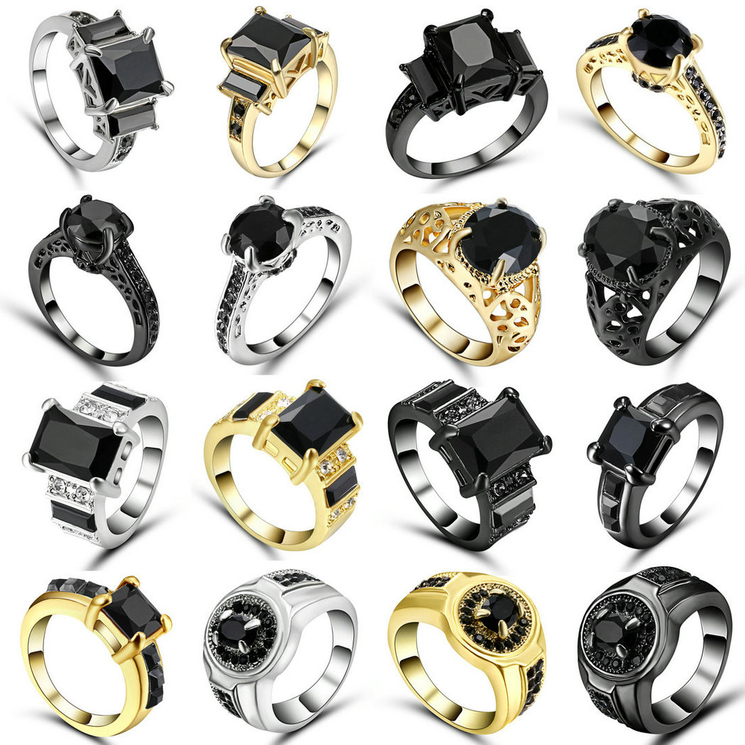 TianBo Big Black Zircon Rings For Female Male Black Gold Filled Fashion Wedding Party Engagement Ring Simple Jewelry Size 9