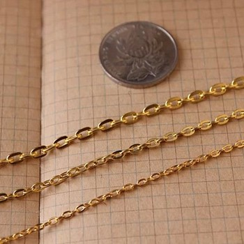 Ship Free~   DIY accessories Adjust the chain  3*2mm  metal flat O capacity  golden   chain