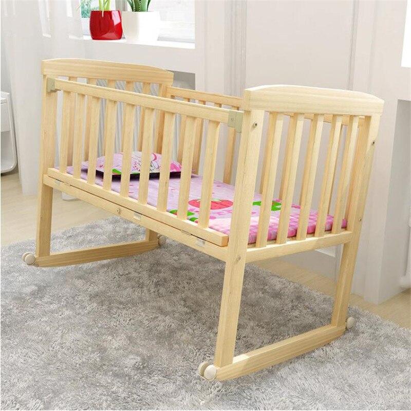 Berceaux bébé berceau en bois naturel peut changer pour bureau chaise à bascule lit enfants 0-3 ans bébé (cadeau gratuit: moustiquaire) - 4