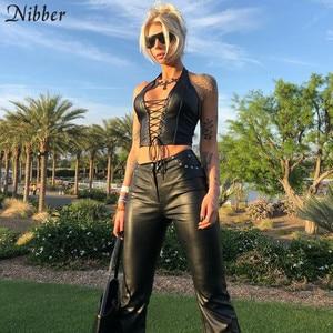 Image 5 - Nibber tops cortos de cuero negro punk para mujer, camisola elástica, camisetas sin mangas de cuero suave ajustadas 2019