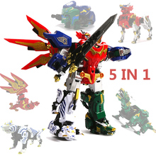 5 In 1 Action Figure Power Dinozord Children Gifts Toys Assembly Transformation Robot Ranger Megazord