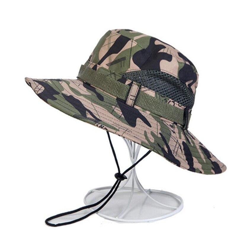 XUYIJUN camuflaje Bucket Cap sombrero con cadena verano hombres ...