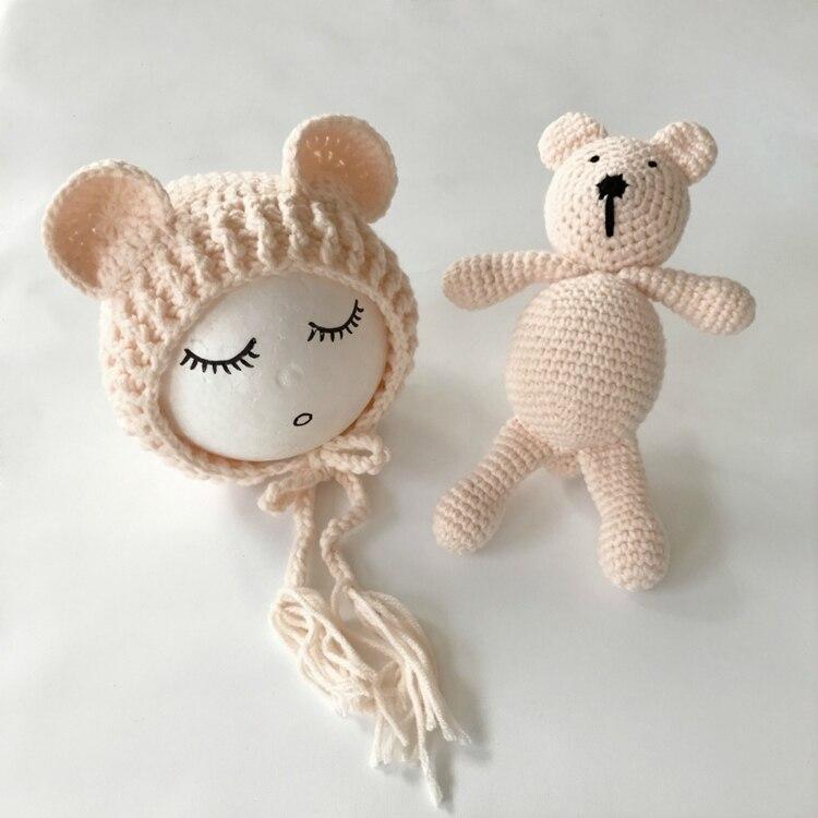 Muñeca y sombrero de oso de peluche de ganchillo, oso de juguete de ...