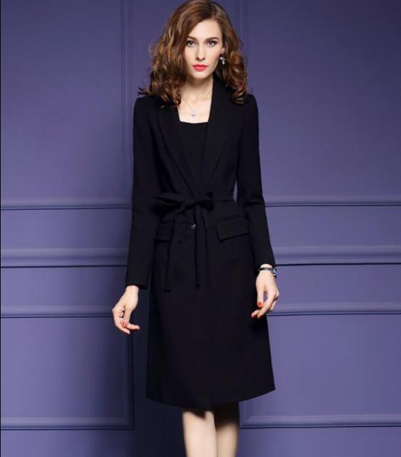 Spring Autumn New Women Single Button Long Trench Coats Fashion Turn Down Collar Long Sleeve Solid Color Trench With Belt