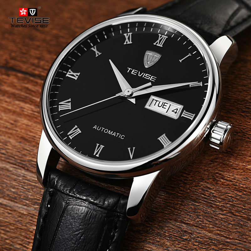 2017 Tevise Business Mechanical Watches Leather Band Wristwatches Men Luxury Brand Waterproof Black White Gift