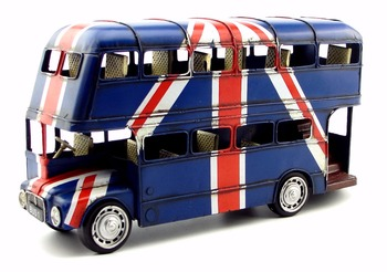 Antique classical London double-decker bus model retro vintage wrought metal crafts for home/pub decoration or birthday gift