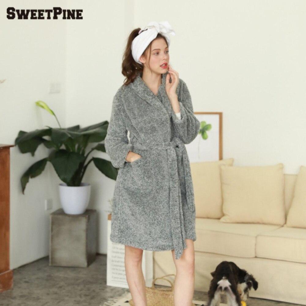 Women Soft Warm Flannel Bath Robe Nightgown Women's Long Sleeve Sleepwear Dressing Home Leisure Weargown Winter