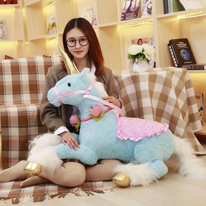 Grand 100 cm énorme mignon licorne cheval en peluche jouets grand coloré en peluche Animal poupée oreiller pour enfants enfants cadeau d'anniversaire pour les filles