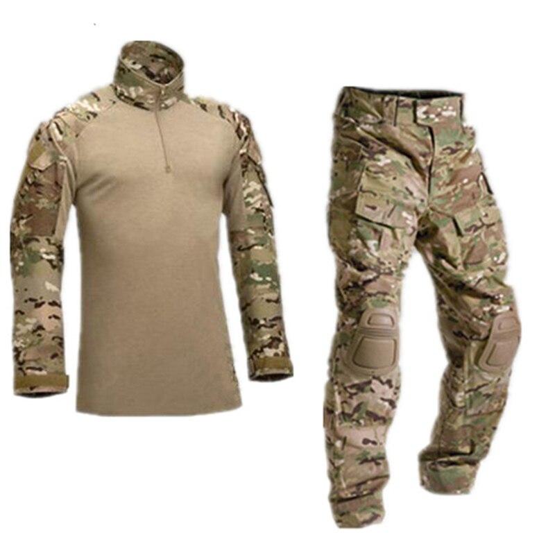 Tactique Camouflage militaire uniforme vêtements costume hommes US armée Multicam Airsoft Combat chemise + Cargo pantalon genouillères