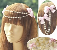 Princesa lolita doce headwear Rosa escuro tarja arco duplo beads cadeia colar frontlet clip decorativo estrelas MHTSP003