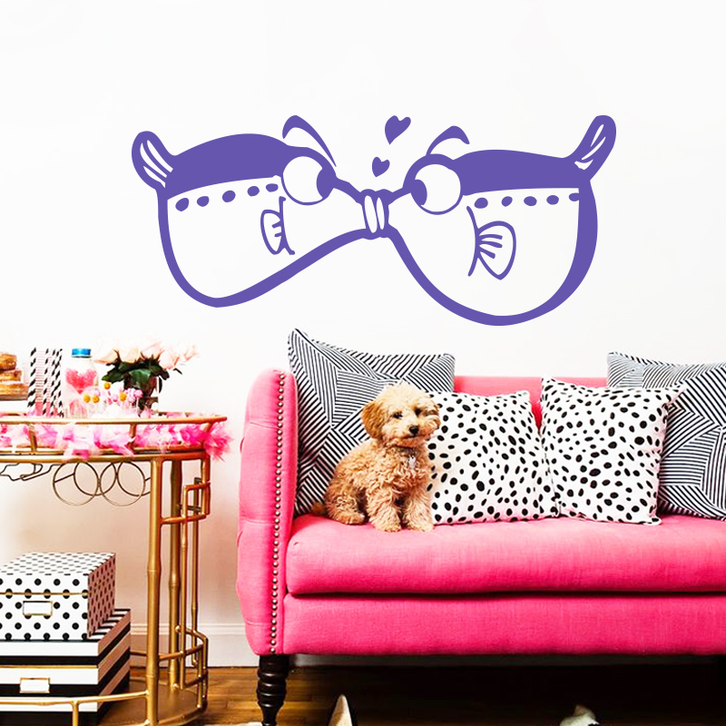 House Decoration Craft Kissing Fish Home Furnishings: Art New Design Home Decor Cute Kissing Fish Wall Sticker