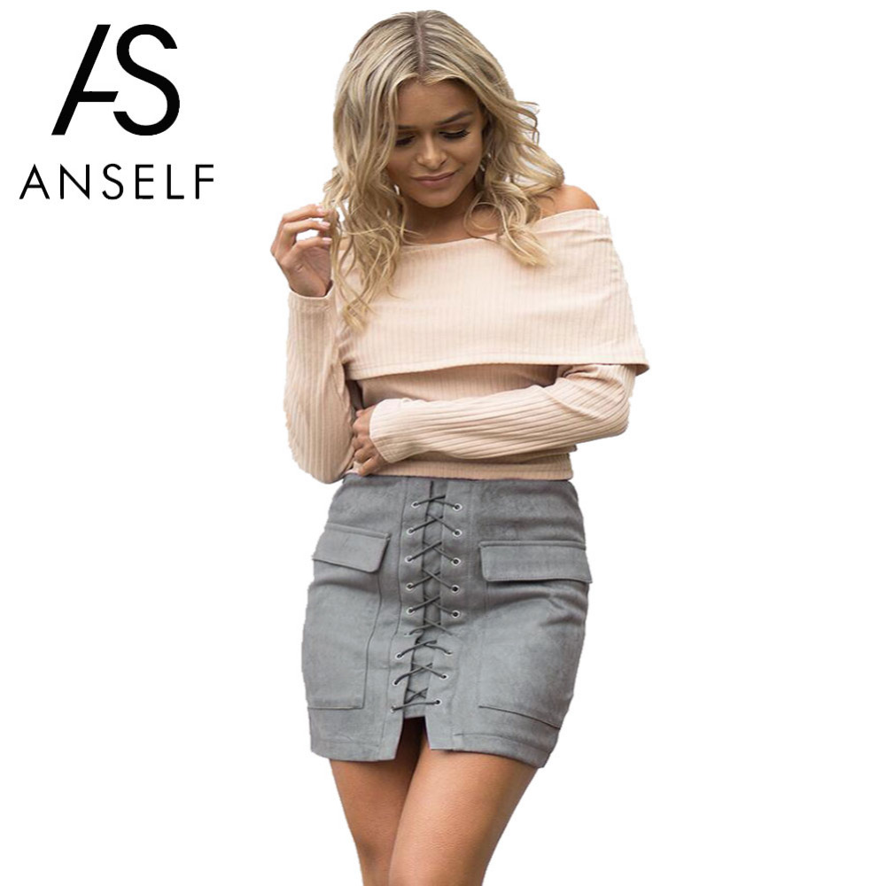 Fashion Women Fashion: Anself Fashion Women Lace Up Suede Leather Skirt Sexy High