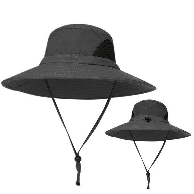 b28d5275da3 2018 new Outdoor Adjustable Waterproof Sun Hat UV Protection Bucket Mesh  Boonie Cap