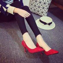 Nice New women shoes pointed toe fashion women pumps high heels thin heels shoes women shallow mouth sexy rivets Fashion