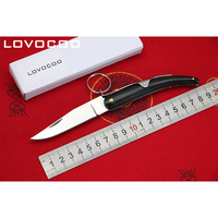 LOCOVOO Cow S Horn 9cr18mov Blade Cow S Horns Handle Flipper Folding Knife Outdoor Camping Hunting