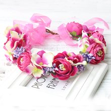Exclusive Daisy Artificial Silk Flower Wreath Headband Hairband Floral Hair Accessories with Ribbon Adjustable garlands crown