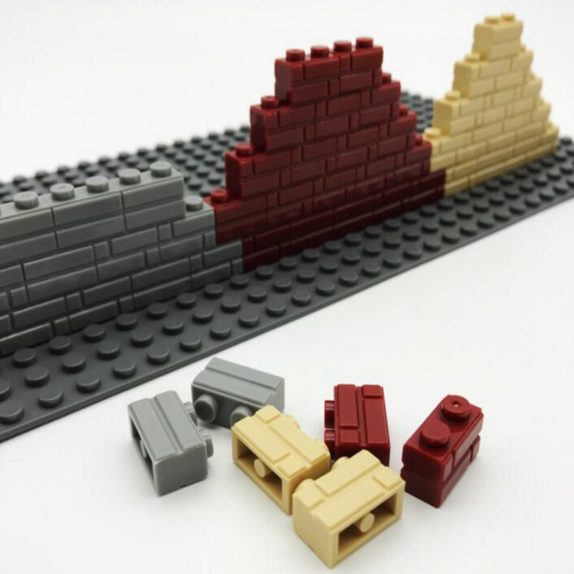 1000pcs Legoing Part 1X2MOC Basic Pieces light gray wine red cream color City House Wall Block Bricks Educational Toy Children