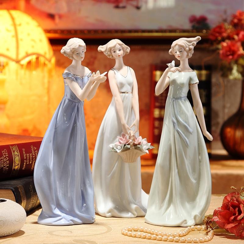 Vintage Porcelain Girl Figure Statue Ceramic Belle Miniature Beauty Ornament Accessories for Home Decor Art Collectible