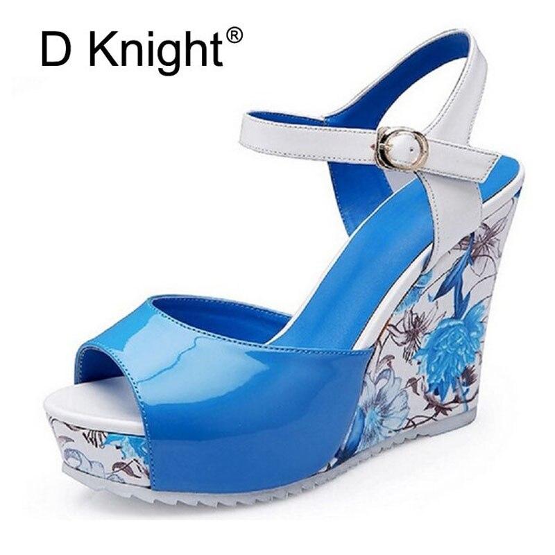 Print Wedges Sandals Women Gladiator Platform Buckle Strap Sandalias Concise Summer High Heel Shoes For Woman