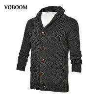 VOBOOM Brand Mens Wool Cardigan Sweaters Men S Thick Turn Down Collar Full Sleeves Slim Solid