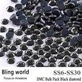 La Toma de Artesanía Adorno Rhinestone Redondo de Vidrio de Calidad Superior DMC Hotfix Tamaño SS6 SS10 SS16 SS20 SS30 Diamante Negro