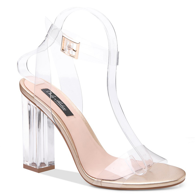 007569ccc15 ... Heel Strap High Dress Ankle onlymaker Perspex Adjustable Lucite US15  Clear Chunky Buckle Transparent Women s Sandals ...