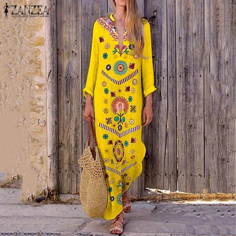 2019 ZANZEA Bohemian Print Maxi Dress Women's Summer V Neck Sundress Split Long Vestidos Female Vintage Floral DressPlus Size