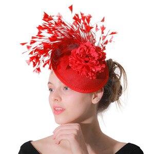 Image 3 - Rouge imitation Sinamay Fascinator chapeaux femmes mariée imitation événement Occasion chapeau pour Kentucky Derby église mariage fête course