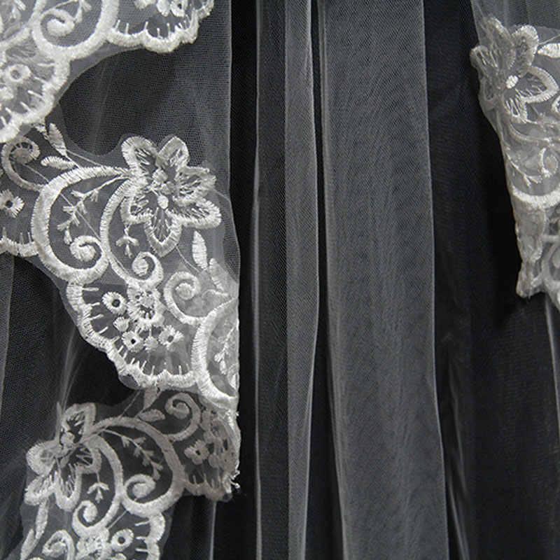 2019 Mariage שכבה אחת התחרה Edge לבן שנהב Catherdal רעלה ארוך כלה רעלה זול חתונה אביזרי Veu De Noiva