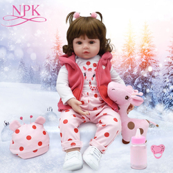 NPK Hot Sale bebe 47CM/ 55CM Silicone Reborn Baby Dolls Toys Adorable Lifelike Toddler Bonecas Girl Kids Toy Sell At A Low Price